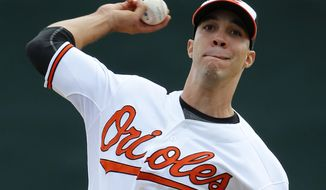 Baltimore Orioles starting pitcher Ubaldo Jimenez (31) warms up before the first inning of an exhibition spring training baseball game against the Philadelphia Phillies in Sarasota, Fla., Friday, March 7, 2014. (AP Photo/Gene J. Puskar)