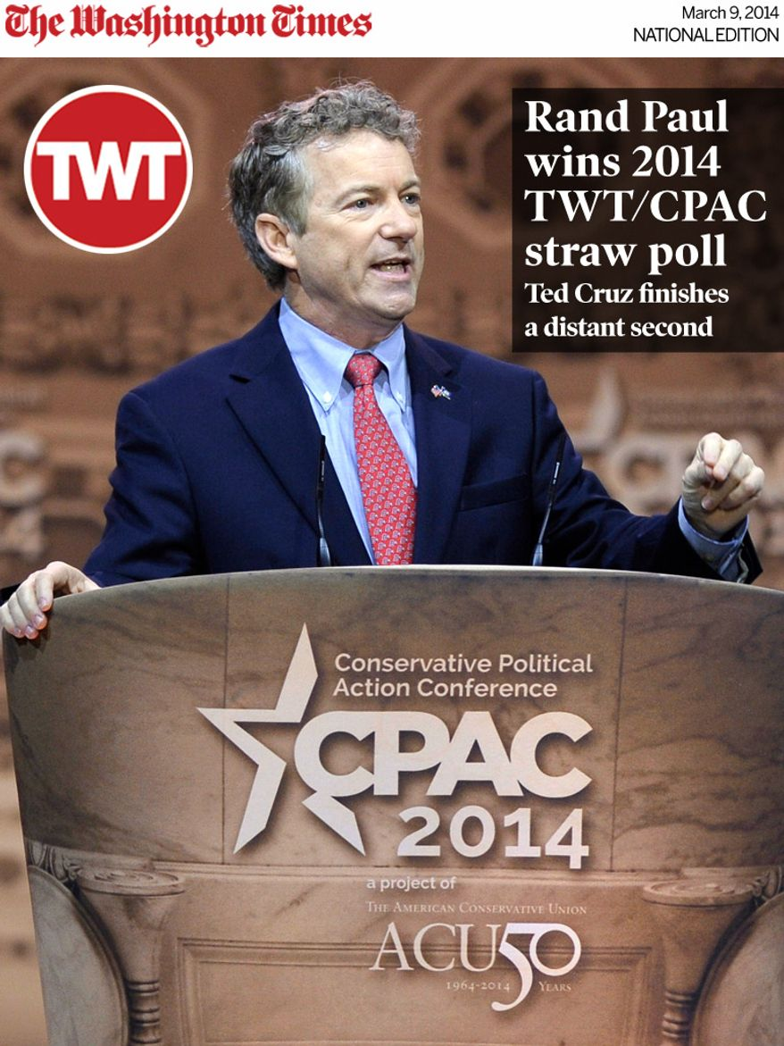 National Edition News cover for March 9, 2014 - Rand Paul wins 2014 CPAC straw poll, Ted Cruz finishes a distant second: Sen. Rand Paul, R-Ky., speaks at the Conservative Political Action Committee annual conference in National Harbor, Md., Friday, March 7, 2014. Friday marks the second day of the annual Conservative Political Action Conference, which brings together prospective presidential candidates, conservative opinion leaders and tea party activists from coast to coast. (AP Photo/Susan Walsh)