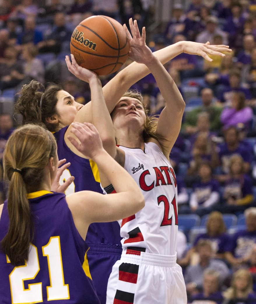 Oregon-Davis' Ashley Campbell (21) is fouled by Vincennes Rivet's Carly Waggoner (22) as she goes up for a shot during the first half of the IHSAA Girls Basketball Class A Championships, Saturday, March 8, 2014, in Terre Haute, Ind. (AP Photo/Doug McSchooler)