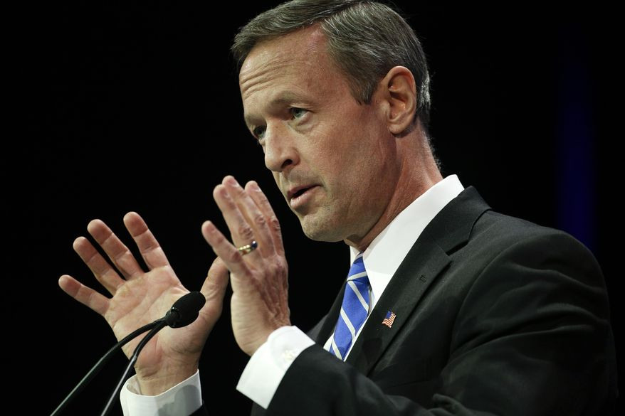 Maryland Gov. Martin O'Malley speaks during a general session at the California Democrats State Convention on Saturday, March 8, 2014, in Los Angeles. (AP Photo/Jae C. Hong)