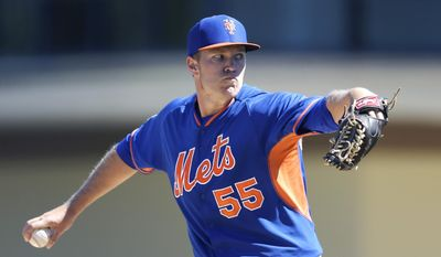 New York Mets starting pitcher Noah Syndergaard (55) throws during the first inning of a spring training baseball game against the Detroit Tigers in Lakeland, Fla., Saturday, March 8, 2014. (AP Photo/Carlos Osorio)