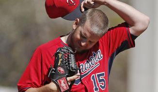 Minnesota Twins relief pitcher Glen Perkins (15) reacts  during the fourth inning of a spring training baseball game against the Toronto Blue Jays in Dunedin, Fla., Saturday, March 8, 2014.  (AP Photo/Kathy Willens)