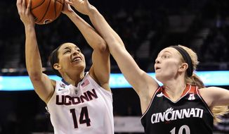 Cincinnati's Kayla Cook, right, fouls Connecticut's Bria Hartley during the first half of an NCAA college basketball game in the quarterfinals of the American Athletic Conference women's basketball tournament, Saturday, March 8, 2014, in Uncasville, Conn. (AP Photo/Jessica Hill)