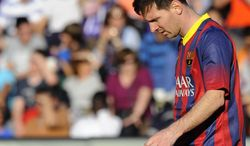 FC Barcelona's Lionel Messi from Argentina is seen during a Spanish La Liga soccer match against Real Valladolid at the Jose Zorrilla stadium in Valladolid, Spain on Saturday March 8, 2014. (AP Photo/Israel L. Murillo)