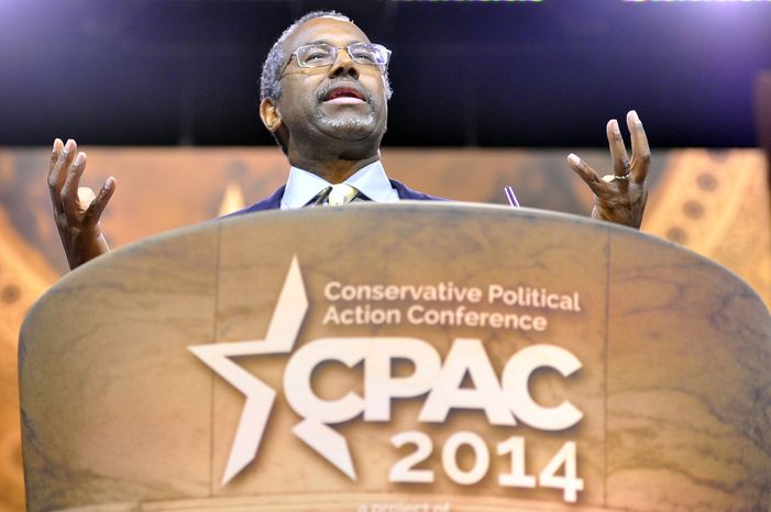 Dr. Ben Carson speaks during the CPAC2014 at The National Harbor, Md. (Preston Keres/Special for The Washington Times)