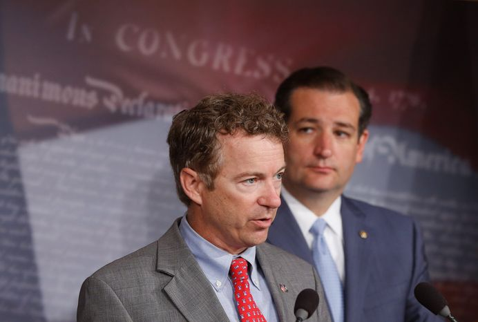Sens. Ted Cruz and Rand Paul share the stage on behalf of  the Republican Party. Both will speak on conservative strengths at an upcoming summit. (Associated Press)