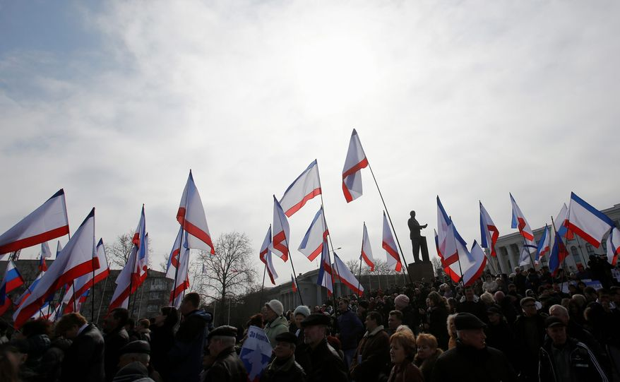 Supporters of Russia have been rallying in Lenin Square in Crimea in support of a referendum to break away from Ukraine and join the Russian Federation. (Associated Press)