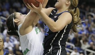Duke's Tricia Liston, right, runs into Notre Dame's Natalie Achonwa, left, during the first half of the NCAA college basketball championship game of the Atlantic Coast Conference tournament in Greensboro, N.C., Sunday, March 9, 2014. (AP Photo/Chuck Burton)