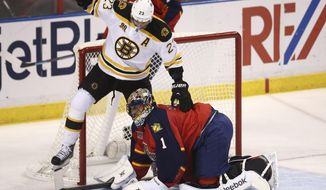After Florida Panthers goalie Roberto Luongo (1) blocked the puck, Boston Bruins' Chris Kelly (23) steps over him during the second period of an NHL hockey game in Sunrise, Fla., Sunday, March 9, 2014. (AP Photo/J Pat Carter)