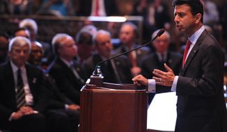 Louisiana Gov. Bobby Jindal speaks during the opening of the state legislature at the state capitol in Baton Rouge, La., Monday, March 10, 2014. (AP Photo/Hilary Scheinuk)