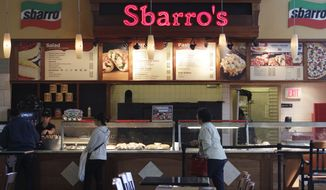 **FILE** Customers are served at Sbarro restaurant in San Jose, Calif., on April 4, 2011. (Associated Press)