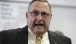 "Maine Gov. Paul LePage criticizes the state's Legislature during a news conference where he touted his ""Open for Business Zones"" proposal, Monday, March 10, 2014, in Brunswick, Maine. The proposal is targeted at businesses that invest more than $50 million and create at least 1,500 jobs. Under the bill, companies would be encouraged to hire Maine workers and contract with other Maine companies. (AP Photo/Robert F. Bukaty)"