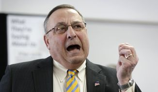 """Maine Gov. Paul LePage criticizes the state's legislature during a news conference where he touted his """"Open for Business Zones"""" proposal, Monday, March 10, 2014, in Brunswick, Maine. The proposal has already come under fire from labor union officials and Democrats, signaling the difficulty it faces in the Democratic-led Legislature. (AP Photo/Robert F. Bukaty)"""