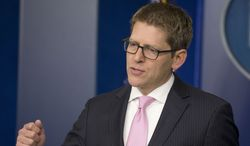 White House press secretary Jay Carney answers questions during his daily news briefing at the White House in Monday, March 10, 2014. Carney spoke about the ongoing situation in the Ukraine and this week's visit of Ukrainian Prime Minister Arseniy Yatsenyuk to the White House. (AP Photo/Pablo Martinez Monsivais)