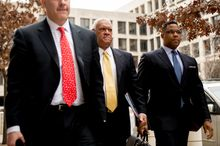 D.C. businessman Jeffrey E. Thompson, center, arrives for a court appearance at U.S. District Court for the District of Columbia after being charged Monday in a campaign finance conspiracy, Washington, D.C., Monday, March 10, 2014. (Andrew Harnik/The Washington Times)