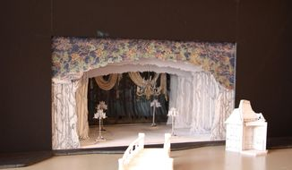 "This March 3, 2014 photo shows a miniature proposal for the touring production of ""Rodgers + Hammerstein's Cinderella"" designed by Anna Louizos. The Tony Award-nominated set designer has launched Broadway Design Exchange, a website that allows designers to sell some of their work online. (AP Photo/Mark Kennedy)"