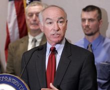 **FILE** U.S. Rep. Joseph Courtney, D-Conn., speaks at a news conference at the Legislative Office Building in Hartford, Conn., Friday, Dec. 5, 2008. Courtney was announcing a new higher education initiative for veterans. (AP Photo/Bob Child)