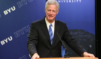 In this photo provided by Brigham Young University, Kevin Worthen, the newly-appointed president of Brigham Young University, speaks during a news conference after he as introduced Tuesday, March 11, 2014, in Provo, Utah.  Worthen will take over for President Cecil O. Samuelsen, a former professor, dean and vice president who was named to BYU's top post in 2003 (AP Photo/Brigham Young University, Jaren Wilkey)