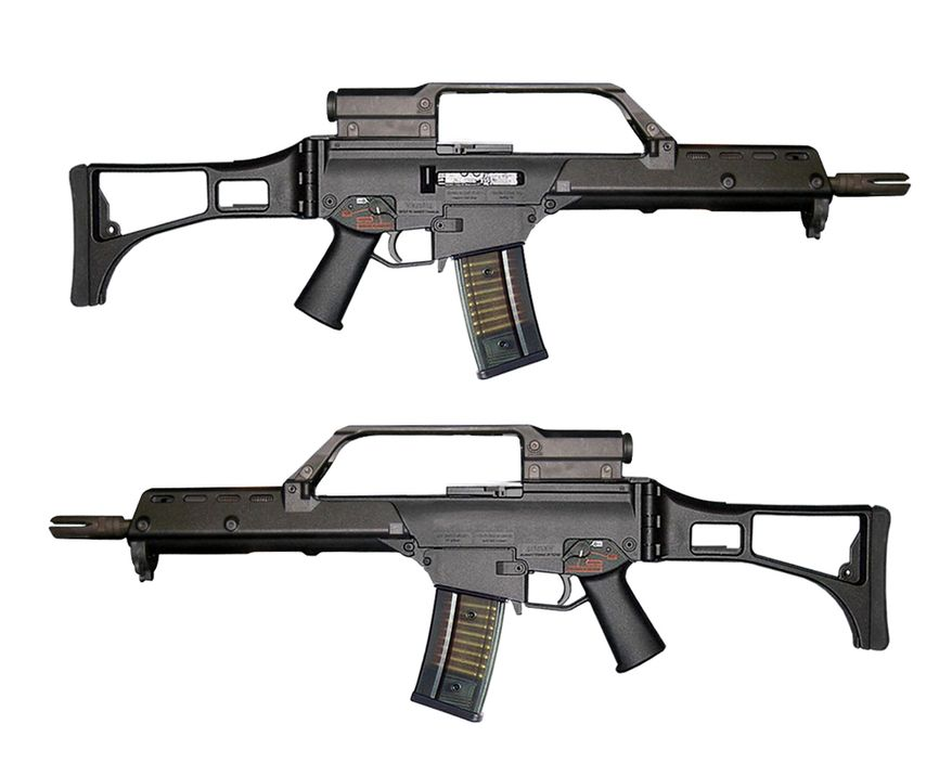 The Heckler & Koch G36 is a 5.56×45mm assault rifle, designed in the early 1990s by Heckler & Koch (H&K) in Germany as a replacement for the heavier 7.62mm G3 battle rifle.[1] It was accepted into service with the Bundeswehr in 1997, replacing the G3.[2] The G36 is gas-operated and feeds from a 30-round detachable box magazine or 100-round C-Mag drum magazine.