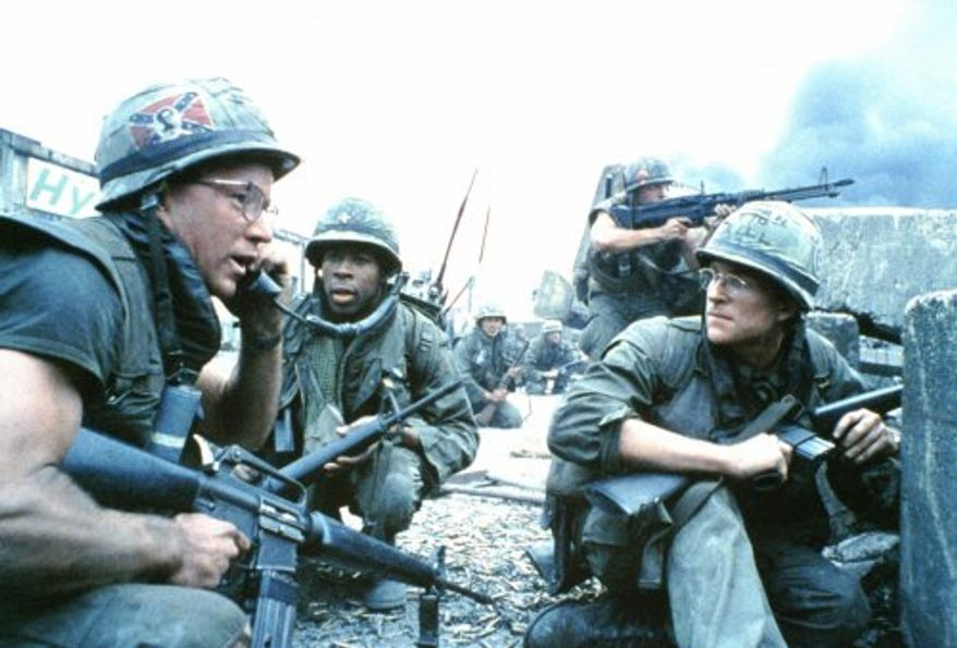 Full Metal Jacket shows U.S. Marines with their M16's.