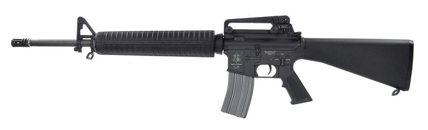 The M16 rifle, officially designated Rifle, Caliber 5.56 mm, M16, is the United States military select-fire adaptation of the AR-15 rifle. The rifle was adapted for semi-automatic and full-automatic fire. Colt purchased the rights to the AR-15 from ArmaLite, and currently uses that designation only for semi-automatic versions of the rifle. The M16 fires the 5.56×45mm NATO cartridge. The rifle entered United States Army service and was deployed for jungle warfare operations in South Vietnam in 1963,[8] becoming the U.S. military's standard service rifle of the Vietnam War by 1969, replacing the M14 rifle in that role. The U.S. Army retained the M14 in CONUS, Europe, and South Korea until 1970. In 1983 with the adoption of the M16A2, the M16 rifle was modified for three round bursts, with some later variants having all modes of fire and has been the primary service rifle of the U.S. armed forces.