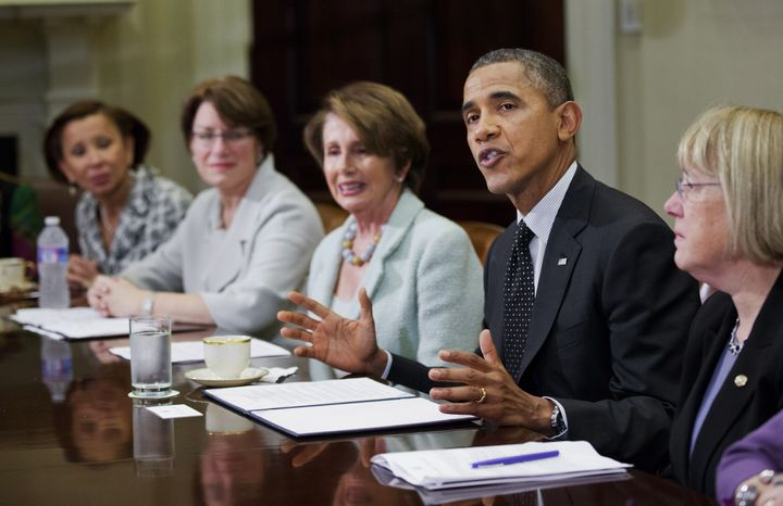 President Barack Obama speaks at a meeting with Democratic female members of Congress to discuss the administration's economic agenda and minimum wage efforts at the White House in Washington, Wednesday, March 12, 2014. From left are Rep. Nydia Velázquez, D-N.Y., Sen. Amy Klobuchar, D-Mn., House Minority Leader Nancy Pelosi, D-Calif., and Sen. Patty Murray, D-Wash.  (AP Photo/Manuel Balce Ceneta)