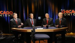 Republican gubernatorial primary candidates from left, state Sen. Bill Brady, state Treasurer Dan Rutherford, state Sen. Kirk Dillard and businessman Bruce Rauner prepare for their last televised debate before next week's primary, Thursday, March 13, 2014, in Chicago. (AP Photo/Charles Rex Arbogast)