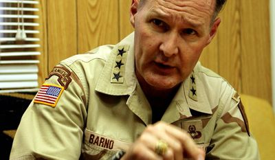 ** FILE ** Lt. Gen. David Barno, commander of U.S. forces in Afghanistan speaking in his office in Kabul, Afghanistan, on April 5, 2005. (AP Photo/Tomas Munita)