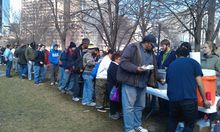 More than 300 homeless people lined on a recent weekend in Denver up for a free meal provided by Christ in the City.