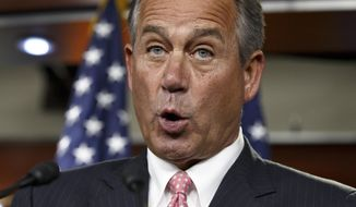 House Speaker John Boehner of Ohio calls Obamacare a monstrosity that was a factor in the Republicans winning a special congressional election in Florida this week, Thursday, March 13, 2014, during a news conference on Capitol Hill in Washington. Boehner also said that jobs are the number one issue for most Americans.  (AP Photo/J. Scott Applewhite)