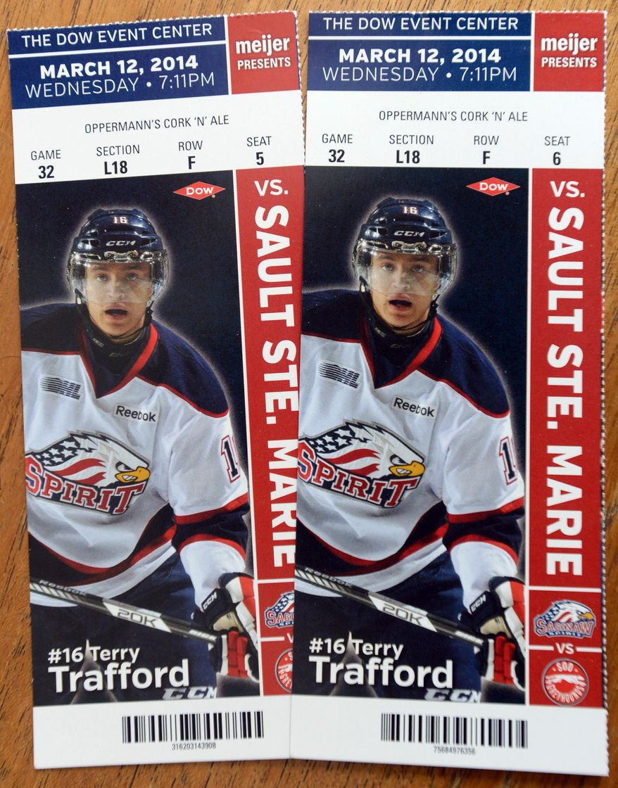 Terry Trafford is pictured on the March 12, 2014 Saginaw Spirit ticket held by season ticket holders. The Saginaw Spirit's Wednesday night, March 12, 2014 home game against the Sault Ste. Marie Greyhounds has been postponed following the death of 20-year-old player Terry Trafford. The Saginaw Spirit confirmed Tuesday that police found the body of Trafford, who disappeared eight days earlier after receiving discipline from the club. (AP Photo/The Saginaw News, Jeff Schrier) ALL LOCAL TV OUT; LOCAL TV INTERNET OUT