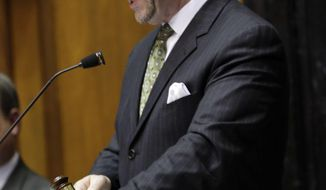 House Speaker Brian Bosma, R-Indianapolis, bangs his gavel to close a vote on of the final day of the 2014 legislative session at the Statehouse in Indianapolis, Thursday, March 13, 2014.  (AP Photo/AJ Mast)