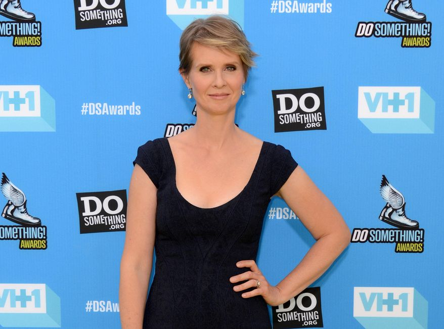 """FILE - This July 31, 2013 file photo shows actress Cynthia Nixon at the Do Something Awards  in Los Angeles. Roundabout Theatre Company said Thursday, March 13, 2014, that Nixon, who starred in the Tom Stoppard play """"The Real Thing"""" when it first came to Broadway in 1984, will come back this fall in a revival with Ewan McGregor and Maggie Gyllenhaal. (Photo by Jordan Strauss/Invision/AP, File)"""