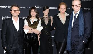 "Actors, from left, Christian Slater, Charlotte Gainsbourg, Stacy Martin, Uma Thurman and Stellan Skarsgard attend the premiere of ""Nymphomaniac: Volume I"" at The Museum of Modern Art on Thursday, March 13, 2014 in New York. (Photo by Evan Agostini/Invision/AP)"