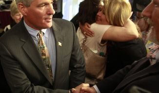 Former Massachusetts Senator Scott Brown is greeted by supporters after announcing plans to form an exploratory committee to enter New Hampshire's U.S. Senate race against Democratic Sen. Jeanne Shaheen,, Friday, March 14, 2014 in Nashua, N.H. (AP Photo/Jim Cole)