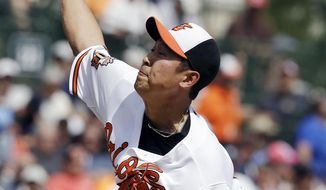 Baltimore Orioles starting pitcher Suk-min Yoon, of South Korea, throws during the seventh inning of a spring exhibition baseball game against the New York Yankees in Sarasota, Fla., Saturday, March 15, 2014. (AP Photo/Carlos Osorio)
