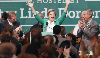 Sen. Elizabeth Warren, center, greets the crowd before speaking during the annual St. Patrick's Day Breakfast in Boston, Sunday, March 16, 2014. Prime Minister Enda Kenny of Ireland, left, and Rep. Stephen Lynch, right, look on. (AP Photo/Michael Dwyer)