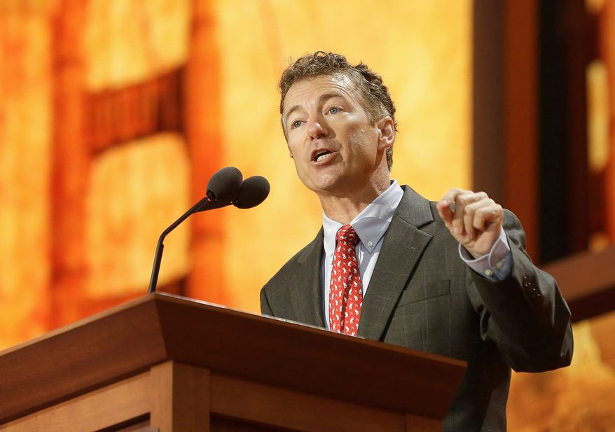Sen. Rand Paul, Kentucky Republican, came out as the favored Republican candidate for a White House run in 2016 in a recent CNN/ORC poll, garnering 16 percent of the support. (Associated Press)