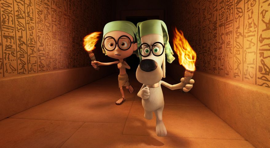 """This image released by DreamWorks Animation shows Sherman, voiced by Max Charles, left, and Mr. Peabody, voiced by Ty Burell, in a scene from the animated film, """"Mr Peabody & Sherman."""" (AP Photo/ DreamWorks Animation)"""