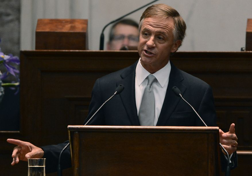 ** FILE ** In this Feb. 3, 2014, file photo, Tennessee Gov. Bill Haslam delivers his State of the State address to a joint session of the General Assembly, in Nashville, Tenn. (AP Photo/Mark Zaleski)