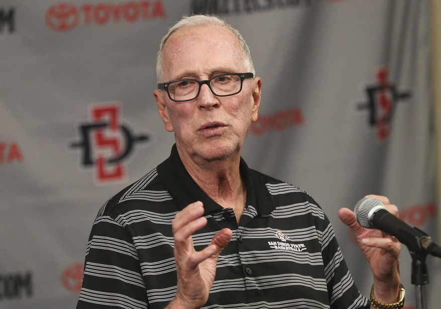 San Diego State coach Steve Fisher talks about his team's first round NCAA basketball tournament game against New Mexico State at a press conference Monday, March 17, 2014, in San Diego. (AP Photo/Lenny Ignelzi)