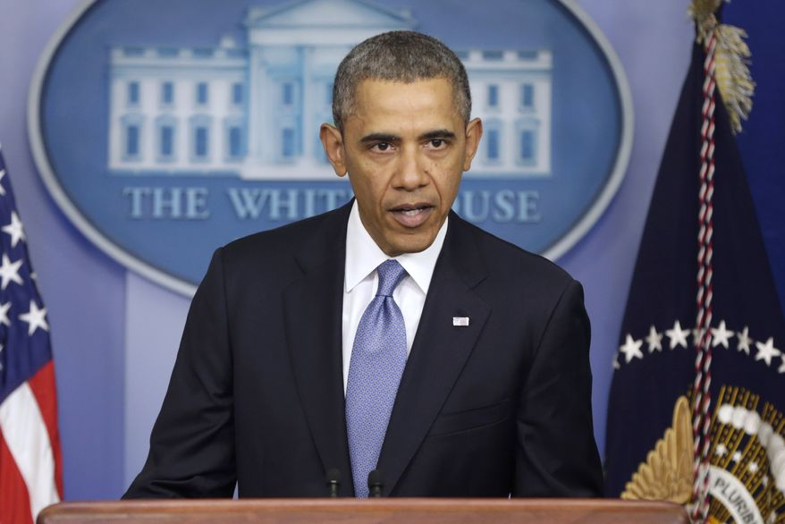 ** FILE ** President Obama speaks about Ukraine, Monday, March 17, 2014, in the James Brady Press Briefing Room at the White House in Washington. (AP Photo/ Pablo Martinez Monsivais)