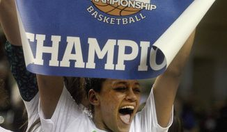 FILE - In this March 15, 2014 file photo, North Dakota's Mia Loyd celebrates the team's 72-55 championship win over Montana in the Big Sky Conference women's NCAA college basketball game in Grand Forks, N.D. On Monday night, March 17, 2014, UND will find out who they will play in the first round of the NCAA Tournament. (AP Photo/Bruce Crummy, File)