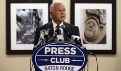 Former Louisiana Gov. Edwin Edwards speaks at the Baton Rouge Press Club, Monday, March 17, 2014, in Baton Rouge, La. Edwards announced that he would join the race to represent the state's  Baton Rouge-based 6th District of the U.S. House of Representatives. Edwards served two terms as governor in the 1970s. He was re-elected in 1983 and made another comeback for a fourth term in 1991. (AP Photo/Travis Spradling)
