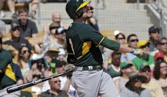 Oakland Athletics' Jed Lowrie watches his three-run home run off Chicago White Sox starting pitcher Jose Quintana in the first inning of a spring exhibition baseball game Tuesday, March 18, 2014, in Glendale, Ariz. (AP Photo/Mark Duncan)