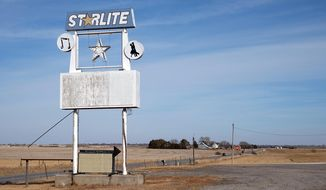 A sign outside the Starlite Ballroom is shown in Wahoo, Neb., Sunday, March 9, 2014. The Nebraska ballroom is celebrating its 50th anniversary this weekend. (AP Photo/The Lincoln Journal Star, Chad Greene)