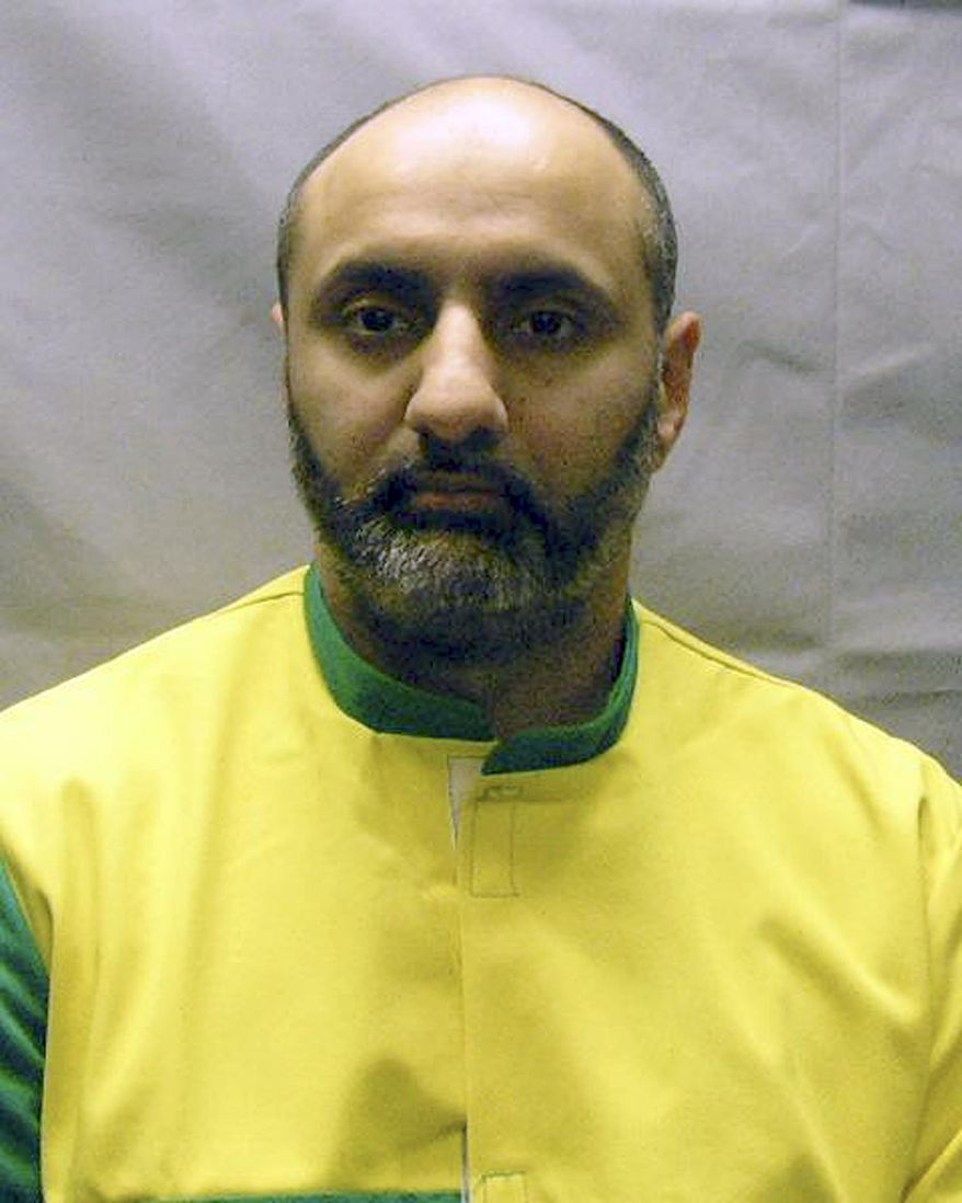 FILE - This Nov. 9, 2012 photo provided by the U.S. Attorney's Office shows Babar Ahmad, extradited in October 2012 with Syed Talha Ahsan to the United States from Britain on charges of supporting terrorists through websites. On Monday, March 17, 2014, a federal judge in New Haven, Conn., granted the request by prosecutors to have a witness testify by video from Britain in the July sentencing of Ahmad and Ahsan, British citizens who pleaded guilty in Connecticut to supporting terrorists.  (AP Photo/U.S. Attorney's Office, File)