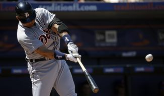 Detroit Tigers' Miguel Cabrera hits a home run in the third inning of an exhibition spring training baseball game against the New York Mets, Tuesday, March 18, 2014, in Port St. Lucie, Fla. (AP Photo/David Goldman)