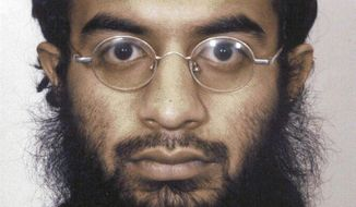 FILE - This undated file photo provided by the Metropolitan Police in London shows Saajid Badat, sentenced in 2005 after admitting he conspired to blow up a U.S.-bound plane in 2001 with explosives hidden in a shoe. On Monday, March 17, 2014, a federal judge in New Haven, Conn., granted the request by prosecutors to have a witness testify by video from Britain in the July sentencing of two British citizens, Babar Ahmad and Syed Talha Ahsan, who pleaded guilty in Connecticut to supporting terrorists through websites. The witness, not named in court papers but fits the description of  Badat, is expected to testify that Ahmad sent him to Afghanistan to train for violent jihad and that he moved on from Ahmad and was trained by al-Qaida members for the failed shoe bomb plot to bring down an airplane. (AP Photo/Metropolitan Police, File)