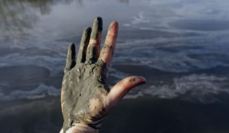 FILE - In this Feb. 5, 2014 file photo, Amy Adams, North Carolina campaign coordinator with Appalachian Voices, shows her hand covered with wet coal ash from the Dan River swirling in the background as state and federal environmental officials continued their investigations of a spill of coal ash into the river in Danville, Va. A  federal grand jury is convening Tuesday, March 18, 2014, as part of a widening criminal investigation triggered by the massive Duke Energy coal ash spill that coated 70 miles of the Dan River with toxic sludge. (AP Photo/Gerry Broome, File)